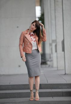Salmon jacket and grey midi skirt