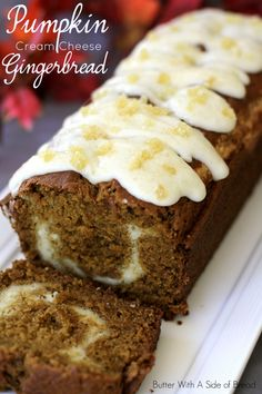 Pumpkin Cream Cheese Gingerbread ~sweet and spicy with a delicious swirl of cream cheese inside. #recipe Butter With A Side of Bread #pumpkin