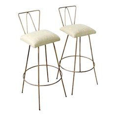 Mid-century Gold Bar Stools - Set Of 2