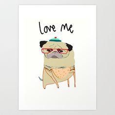 Pugs Need Love. Art Print by Ashley Percival illustrator - $18.00