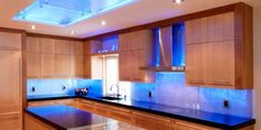 Unique Kitchen Lighting Design in Your House: Captivating Contemporary Kitchen Lighting Design Decorated With Blue Ceiling Light Decoration .