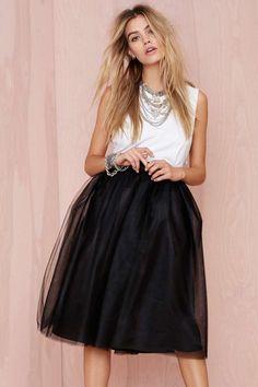 Elegant black mesh skirt.