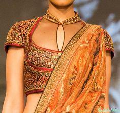 Saree or sari blouse details - Tarun Tahiliani at India Bridal Fashion Week 2014 New Blouse Designs, Choli Designs, Mehndi Designs, Lehenga Designs, Indian Attire, Indian Outfits, Indian Dresses, Indian Wear, Bride Indian