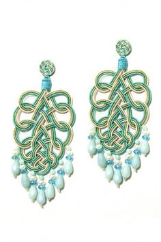 Pavone Earrings - Turquoise, sage green and gardenia white by Anna e Alex