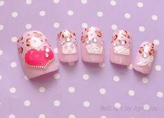 Japanese nail art kawaii nails hime gyaru sweet lolita by Aya1gou, $18.00