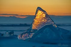 Зимний Байкал на закате.