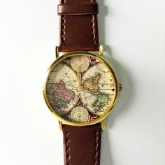 Map Watch Vintage Style Leather Watch Women by FreeForme on Etsy, $10.00