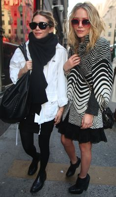 MKA MARY KATE ASHLEY OLSEN BLACK AND WHITE LOOKS GRAPHIC JEROME DREYFUSS LEATHER BAG SWIRL PRINTS FLOT OXFORDS TIGHTS SKIRT SUNGLASSES NEW YORK CITY ROUND RED SUNGLASSES
