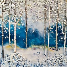 Renewed Confidence, encaustic tree painting by Catharine Clarke Colorful Paintings, Tree Paintings, Landscape Paintings, Quirky Decor, Cast Glass, Blue Painting, Encaustic Painting, Winter Art, Canadian Artists