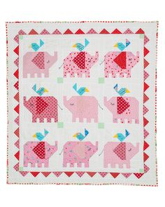 Use this pattern from Red Brolly to make a cute little elephant quilt which will grace any nursery. Swap the pink elephants for blue or make multi coloured elephants! Blocks are machined pieced - so the quilt will come together quite quickly. Cute Quilts, Scrappy Quilts, Mini Quilts, Baby Quilts, Elephant Quilts Pattern, Baby Quilt Patterns, Quilting Projects, Quilting Designs, Sewing Projects