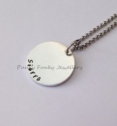 Hand stamped personalised circle necklace  by PFJewelleryshop