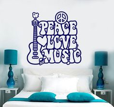 Wall Vinyl Decal Music Peace Love Guitar Band Retro by BoldArtsy