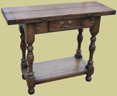 Small Oak Folding Table Potboard Drawer