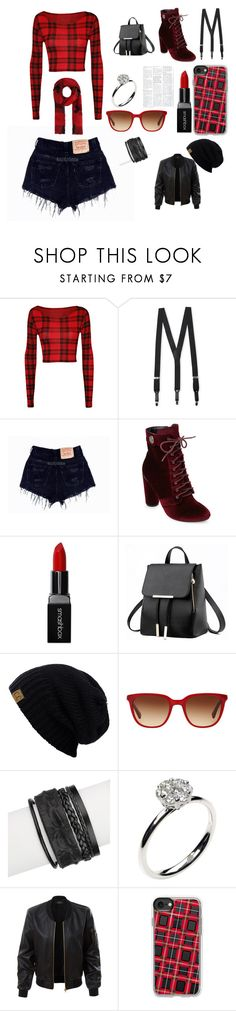 """""""Tartan to the Restaurant"""" by alybug04 ❤ liked on Polyvore featuring WearAll, Florsheim, Catherine Catherine Malandrino, Smashbox, RALPH, Saachi, Annoushka, LE3NO, Casetify and Diesel"""