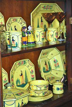 Set Of 14 Antique Henriot Quimper Soleil Yellow Glaze Plates Latest Fashion Dinner Luncheon