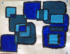 La géométrie dans l'art carrés nuances de bleu Grande Section de maternelle