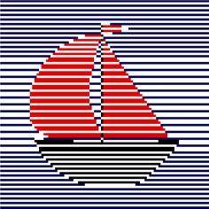 Beautiful modern minimalist cross stitch pattern of a sailing boat by CrossStitchtheLine