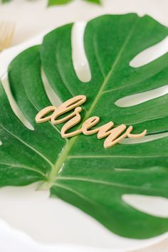 Palm leaf laser cut name card: http://www.stylemepretty.com/living/2017/02/24/winter-schminter-were-giving-our-brunch-a-tropical-vibe/ Photography: Aaron & Jillian - http://www.aaronandjillian.com/