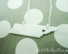 Tennessee (or any state) State Silhouette Necklace Acrylic Pendant State Love With Heart Over City