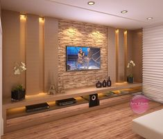False Ceiling Home Modern false ceiling diy interior design. False ceiling living room False Ceiling Home Modern false ceiling diy interior design. Cozy Family Rooms, Family Room Design, Living Room Modern, Living Room Decor, Living Rooms, Tv On Wall Ideas Living Room, Stone Wall Living Room, Ceiling Design Living Room, Decor Room