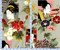 Indochine - Ajisai Sisters - Gilded Geisha Portraits on Green    ORI-geishas-P651  100% cotton, quilting weight fabric  Alexander Henry M7213-ARR