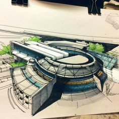 Architectural sketch by Hossein el Mousavi www. Architecture Concept Drawings, Architecture Sketchbook, Futuristic Architecture, Amazing Architecture, Art And Architecture, Circular Buildings, Building Design, Instagram, System Furniture