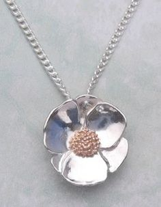 Poppy pendant in sterling silver and rose gold @harbrondesign.com