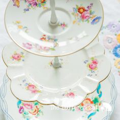 Shabby chic 3-tier cake and pastry stand made from