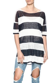 Short sleeve navy striped oversized top with a boat neckline.   Striped Oversized Tee by Rebecca Elliott. Clothing - Tops - Short Sleeve Clothing - Tops - Tees & Tanks North Carolina
