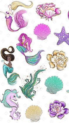 Summer Wallpaper, More Wallpaper, Iphone Wallpaper, Unicorns And Mermaids, Mermaids And Mermen, Mermaid Wallpapers, Seahorse Art, Animal Doodles, Mermaid Pictures
