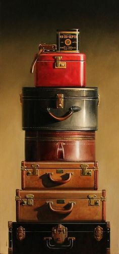 "What's not to love with this suitcase collection. ♥ My mom had the ""red train case"" and my dad had the largest ""brown suitcase"". Shabby Vintage, Vintage Love, Vintage Decor, Vintage Antiques, Vintage Items, Design Vintage, Vintage Suitcases, Vintage Luggage, Vintage Travel"