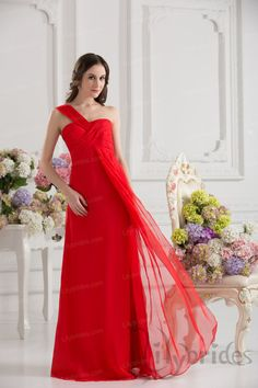 A-line One-shoulder Stretch Satin Chiffon Pleated Prom Dress