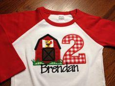 Barnyard Birthday Boy Shirt - Farm Birthday Shirt - long sleeve raglan shirt. $27.00, via Etsy.