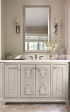 a perfect gray: sweet gray green bath cabinets