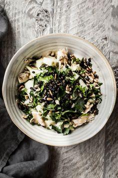 Kohlrabi Tuna Salad with Fried Capers - Dishing Up the Dirt Kohlrabi Recipes, Surimi Recipes, Endive Recipes, Mackerel Recipes, Best Salad Recipes, Healthy Pasta Recipes, Healthy Pastas, Seafood Recipes, Dinner Recipes