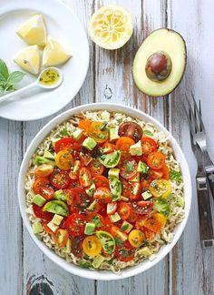Avocado & Cherry Tomato Ramen Noodle Bowl with Lemon Basil Vinaigrette from…