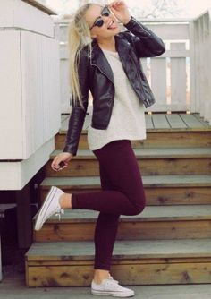 Leather jacket with sweater, plum purple leggings and converses