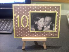 Cute table numbers with photos of the couple