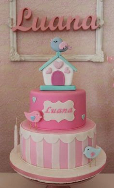 Shabby chic baptism party cake! See more party ideas at CatchMyParty.com!