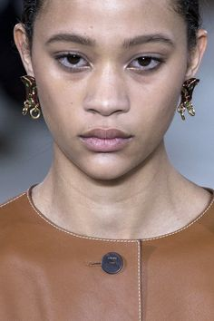 Button Earring  - HarpersBAZAAR.com