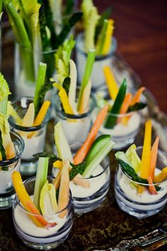 Individual veggies and dip - you could do this with votives.  Fun