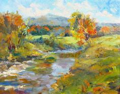 """16"""" x 20"""" Oil on linen Crisp orange and red foliage covers the landscape below Mt. Mansfield in Vermont. Late summer greens frame a slow-moving river and peek through the fallen leaves under a bright"""