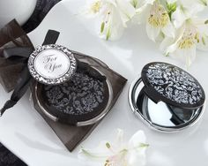 Reflections Elegant Black and White Mirror Compact Favour