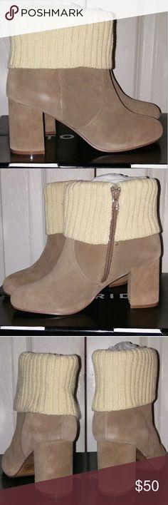NWT tan ankle boots from torrid size 6.5 Pair of brand new in box tan with off white sweater fold over ankle boots from torrid womens size 6.5 24th & Ocean Shoes Ankle Boots & Booties