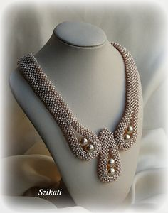 Beaded beige seed bead pearl Right Angle Weave necklace