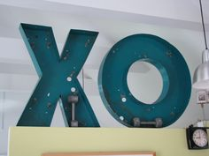 """Super Size Vintage Channel Letters """"X"""" or """"O"""" Metal Sign - Marquee Sign - 30"""" Tall - Industrial Wall Decor - Hugs and Kisses. $135.00, via Etsy."""