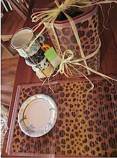 (wedding or shower gift) Wrap bamboo placemats around coffee cups and cans of coffee/tea.  Tie with raffia and there you go.  Be eco-friendly by not using wrapping paper.