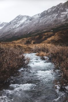 Beautiful picture of Snow dusting the mountains and the cold stream flowing below.