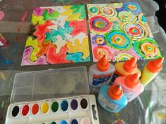 The Vintage Umbrella: Painting With Watercolors and Elmer's Glue -- I like the patterns they created here. I could use this in my Math in Art class. Crafts To Do, Crafts For Kids, Arts And Crafts, Projects For Kids, Art Projects, Elmer's Glue, Watercolor Paintings, Watercolors, Preschool Art