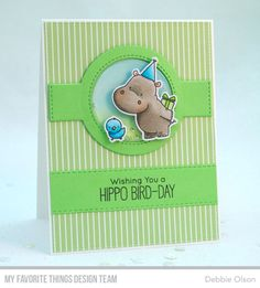 Happy Hippos Stamp Set and Die-namics, Blueprints 15 Die-namics, Blueprints 31 Die-namics, Stitched Fishtail Flags STAX Die-namics - Debbie Olson #mftstamps